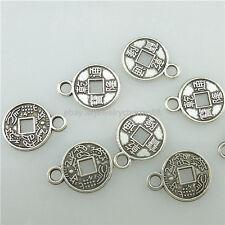 15396 100PCS Alloy Antique Silver Vintage Mini Ancient Chinese Coins Pendants