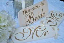 "Wedding Signs Set ""Here comes the bride"", ""Mr"", & ""Mrs"" Handmade With Love."