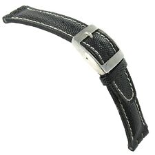 20mm Morellato Black Gen.Italian Leather Contrast Stitched Watch Band For Swatch