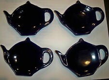 Porcelain Teapot Teabag Caddy Blue Set of 4