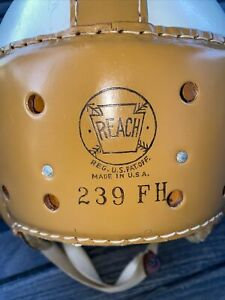 SWEET Early Old Antique 1930's REACH Minty Thick Leather Football Helmet Vintage
