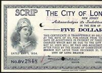 UNC 1934 $5 DOLLAR SCRIP CITY OF LONG BRANCH NEW JERSEY CERTIFICATE CURRENCY