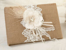 Burlap Lace Guest Book and Pen Country Vintage Wedding