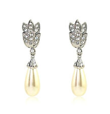 Vintage Style Silver Cream White Pear Pearl Drop Dangle Earrings Bridal E1197