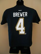 New NHL St. Louis Blues Eric Brewer #4 Youth Medium M 10-12 Reebok Shirt