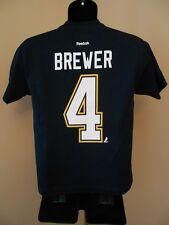 New NHL St. Louis Blues Eric Brewer #4 Youth Medium M 10-12 Reebok Shirt