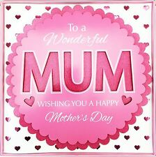 Mum Card Glitter & Hearts Large Luxury 3D Mother's Day Wishes Gift Love Greeting