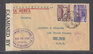 PERU, 1942 Registered  Airmail Censored cover, Lima to USA, 5c., 50c., 1s.