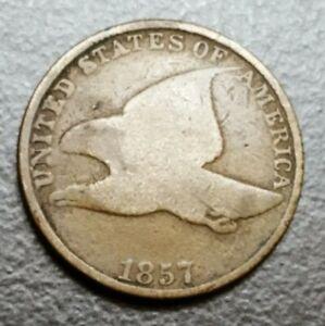 1857 US Flying Eagle Cent Sharp Details Old Historical Coin
