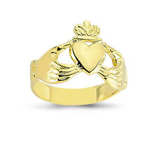 9CT GOLD SOLID CLADDAGH CLADDA CELTIC HEART CROWN IN HANDS RING BAND GIFT BOX