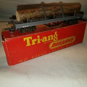 Triang R212 Bogie Bolster Wagon M13127 Log Load Spring Strapping Early Couplings