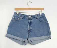 Vintage LEVI'S Medium Blue Wash High Waisted Cut Offs Cuffed Denim Shorts 30/31