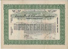 NEW YORK 1917 Electric Car & Locomotive Corp Stock Certificate #26 Railroads