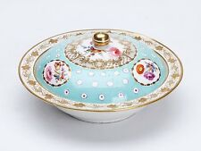 ANTIQUE COALPORT FLORAL PAINTED LIDDED MUFFIN DISH 19TH C.