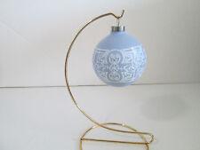 Wedgewood Blue White Decorative Christmas Glass Ornaments Set of 4 Pyramid