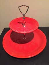 Vintage Red 2 Tier California USA Pottery Tidbit Tray Server B653