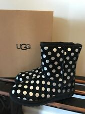 NEW UGG Big Kids K Classic Metallic Dot Boots Sz 5 / EU 35 NIB Black Shearling