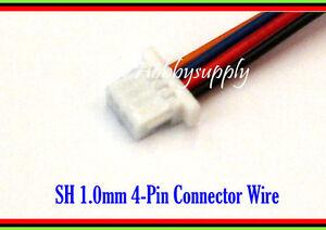 4-Pin connector wire lead 20cm SH micro mini 1.0mm pitch female housing plug x10
