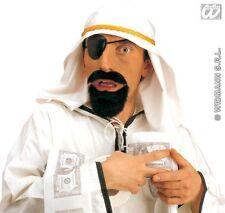 Un finto LO SCEICCO BIANCO Copricapo BARBA Eyepatch Dubai Arabo Deserto Party Costume