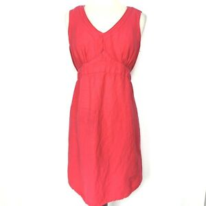 Motherhood Maternity Linen Blend Sleeveless Empire Dress Size XL Red Tie Back