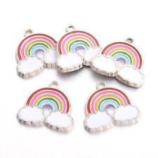 100PCS Alloy Enamel Pendants Rainbow Colorful Platinum 19.5x20x2mm Hole 2mm