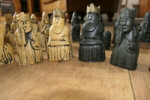 History Craft Resin Medieval Style Chess Pieces faux ivory Black & White Sets