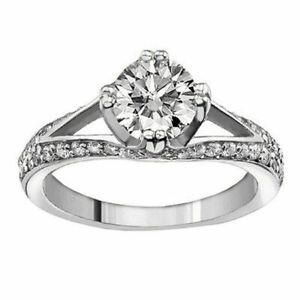0.88 CT Split Shank Diamond Engagement Ring in 18K White Gold Pave Setting NEW