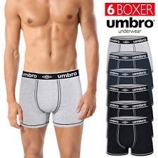 6 Pezzi Boxer Umbro Uomo Mutande Cotone Elasticizzato Nero Blu Grigio