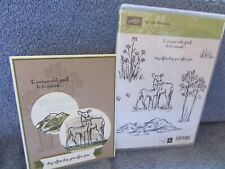 stampin up IN THE MEADOW-deer-mountains-trees-wild flowers-NEW-lot + card