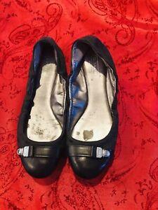 COACH Soft Black Leather Delphine Buckle Lock Ballet Ballerina Flats 6.5