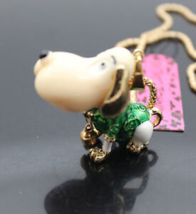 657G   Betsey Johnson Crystal Enamel Beagle dogs Pendant Chain Necklaces