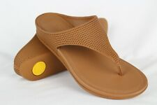 Fitflop Women's Banda Perforated Leather Thong Sandals Size 7 Light Tan