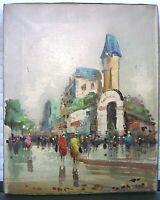 Mid Century Oil Painting Italian Street Scene Signed Rocco