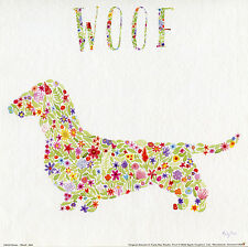 DACHSHUND DAXI Smooth Wire Long Haired FLORAL LIFESTYLE SAUSAGE DOG ART PRINT