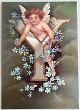 """*Vintage ANGEL ALPHABET LETTER """"Y"""" Floral FOIL POSTCARD Clapsaddle FORGET-ME-NOT"""