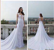 Lace Chiffon Square Neck Sleeveless Wedding Dresses