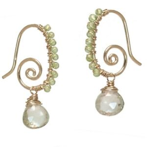 Gemstone Earrings Hammered 14K Gold Filled Spirals Peridot Green Amethyst USA