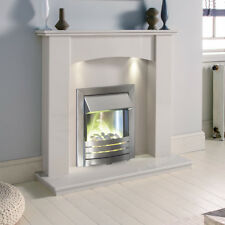 WHITE MARBLE CURVED SURROUND SILVER ELECTRIC FIRE PEBBLES FIREPLACE SUITE LIGHTS