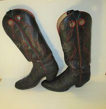 "New listing Rare! Vtg. Justin Buckaroo ""Spellout ""Black Leather Elephant Print Boots-Sz-10D"