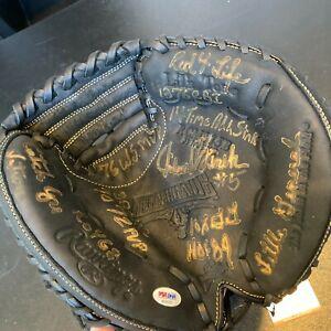 Johnny Bench Signed Heavily Inscribed STATS Catchers Mitt Glove PSA DNA COA