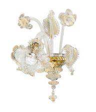 Applique in Vetro di Murano -1005/AP1 Cristallo Oro - Montatura Oro 24k