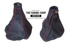 For Alfa Romeo 156 1998-2002 Gear & Handbrake Gaiter Black Leather Red Stitchin