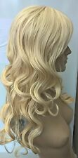 light blonde curly wavy fringe very long hair wig fancy dress cosplay free cap