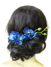 Long Blue Orchid Flower Stem Hair Comb Fascinator Headpiece Rockabilly 50s 1584