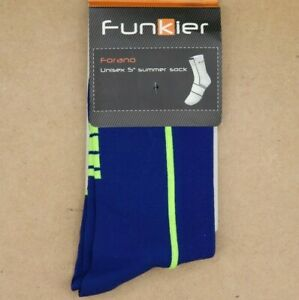 2 pack Funkier Forano cycling Socks N. yell, Blue, coral Sizes 10-13 and 6-9