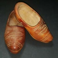 Dutch Wooden Shoes Rare Hand Carved Collectible Miniature #168
