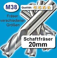 Fräser 20mm 4S.104mm f. Edelstahl Alu Messing Kunstst. hochlegierte Qualität M38