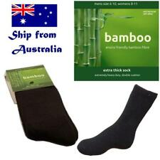 4 pair BAMBOO socks men women hiking work outdoor thick cushion black sz 6-10