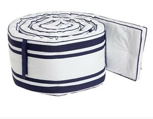 New Pottery Barn Kids Harper Navy & White Crib/Bassinet Bumper