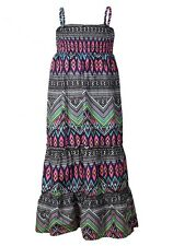 Girls Multi Abstract Sleeveless Cotton Rich Strappy Maxi Summer Holiday Dress.